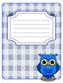 Owl gingham cover- blue and grey — Stock Vector