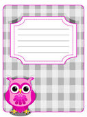 Owl gingham cover-pink and grey — Stock Vector