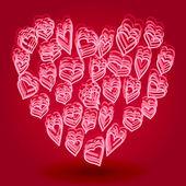 Doodle heart shape — Stock Vector