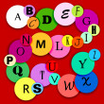 Fun alphabat on multicolor circles-2 — Stock Vector