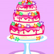 Three tier pink cake — Vector de stock