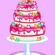 Three tier pink cake — Stock Vector