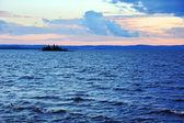 Sunset on big lake — Stock Photo