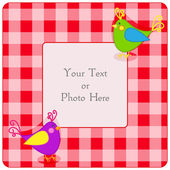 Plaid frame with birdies — Vector de stock