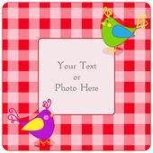 Plaid frame with birdies — Stock Vector