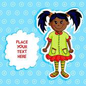 Little black girl card — Stock Vector