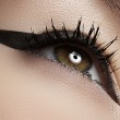 Beauty, cosmetics & make-up. Beautiful female eye with black liner makeup. Fashion catwalk visage. Sexy retro pin-up or rock diva's style — Stock Photo