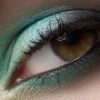 elegantie close-up van vrouwelijke oog met munt kleur oogschaduw. macro-opname van gezicht deel — Stockfoto