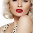Fashion portrait of beautiful woman model with red lips make-up and long curly blond hair. Pin-up retro style. Pretty blond coquette model in vintage dress with peas print — Stock Photo