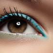 Elegance close-up of beautiful female eye with fashion trend mint colors eyeshadow and eyeliner. Macro shot of beautiful woman's face part with makeup. Cosmetics, beauty and make-up — Stock Photo