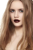 Portrait of young fashion woman with dark red lips make-up — Stock Photo