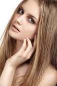 Health, beauty, wellness, haircare, cosmetics and make-up. Beautiful fashion hairstyle. Woman model with shiny straight long hair and fashion natural make-up. Sexy girl — Stock Photo
