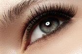 Mulher bonita dos olhos com cílios longos naturalmente. tiro macro. bem-estar e spa, saúde e cosméticos. make-up natural com rímel preto nos cílios. cílios longos naturel — Foto Stock