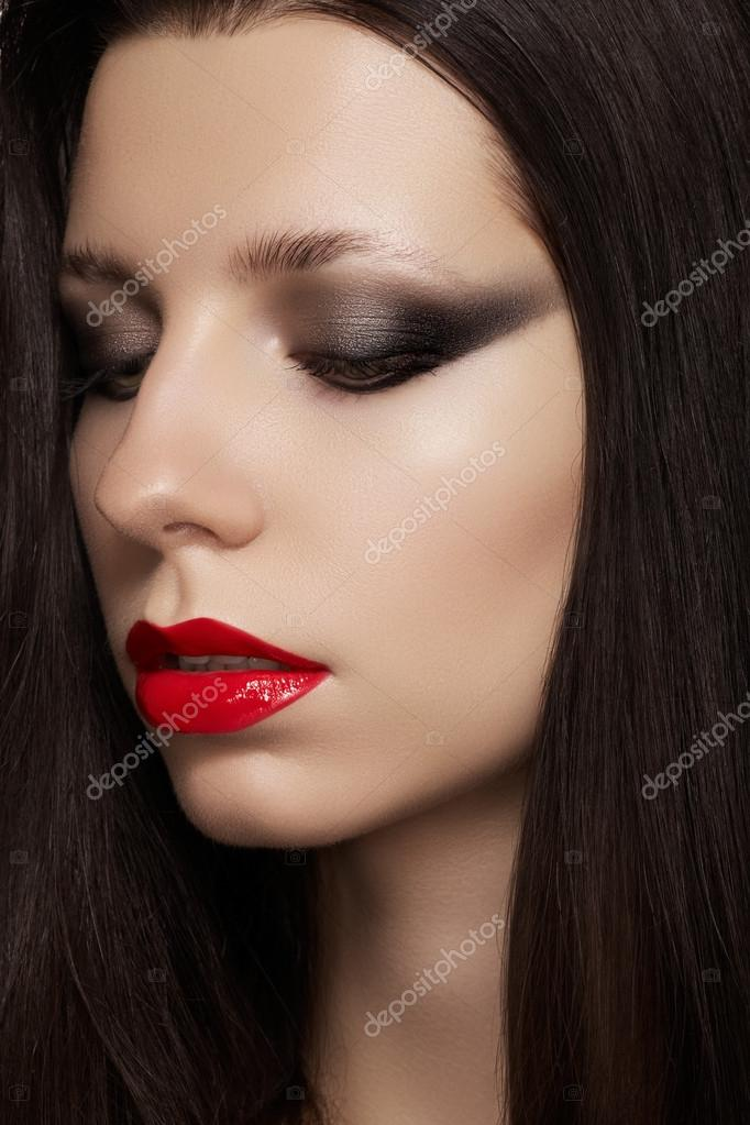 Close-up portrait of sexy caucasian young woman model with ...