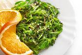 Japanese cuisine , seaweed salad in white plate. Healthy organic sea food — Stock Photo
