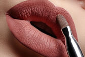 Close-up of woman's lips with fashion natural white coffee lipstick make-up — Stock Photo