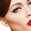 Close-up portrait of sexy caucasian young woman model with glamour red lips — Stock Photo #6914142