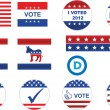 Stok Vektör: US election badges and icons