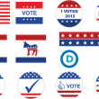 US election badges and icons - Imagen vectorial