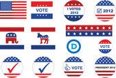 Nos distintivos electorales e iconos — Vector de stock