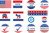 US election badges and icons — Stok Vektör