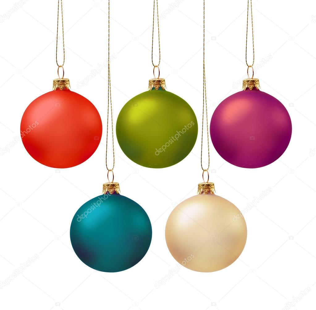 Set of five christmas ball in various colors — Stock Photo #13977926