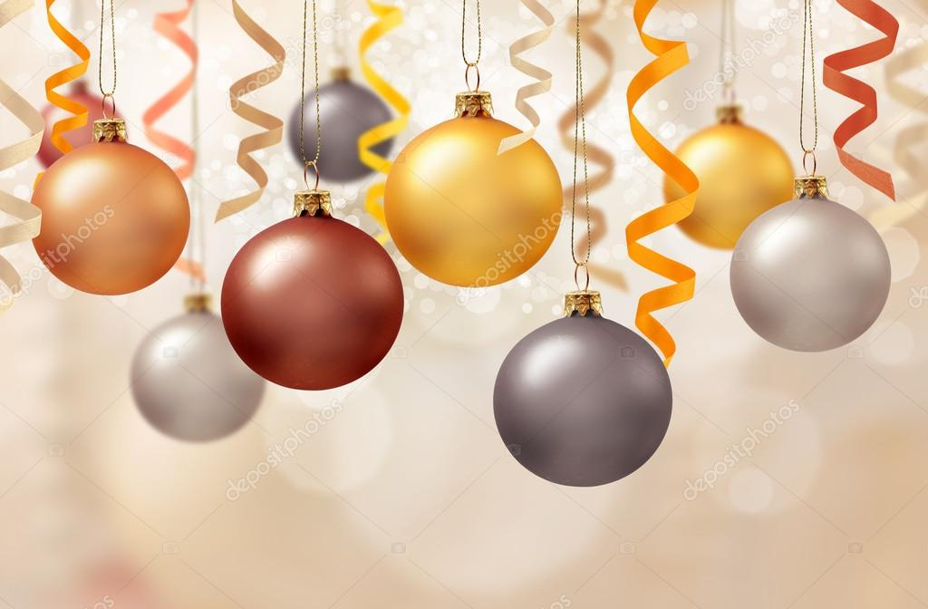 Christmas decoration with balls and ribbons  Stock Photo #13977930