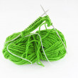Yarn and needles for kniting — 图库照片