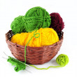 Colorful yarn and needles for knitting — Stock Photo #19011287