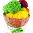 Colorful yarn and needles for knitting — Stock Photo