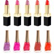 Lipstick and nailpolish in different colors — Stockfoto