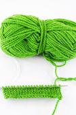 Yarn and needles for kniting — Stock Photo