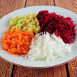 Beetroot, turnip, carrot and apple salad — Stock Photo