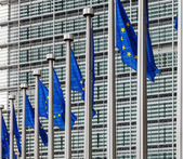 EU flags in front of berlaymont building — Stock Photo