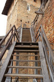 Wooden stairs to the old castle — Stock Photo
