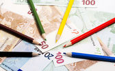 Pencils and euro — Stock Photo