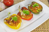 Stuffed paprika with meat and vegetables — Stock Photo