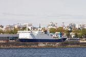 Huge Blue and White Ferry in Port of Victoria — Stock Photo