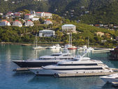 Two Luxury Yachts on Coast of St Thomas — Stock Photo