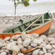 Green and Orange Boat Vertical — Stock Photo