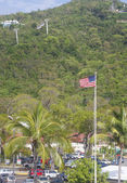 American Flag Flying Over St Thomas — Stock Photo