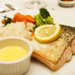 Broiled Salmon with Melted Butter — Stock Photo #13773238