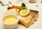 Broiled Salmon with Melted Butter — Stock Photo