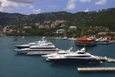 Three Luxury Yacths at St Thomas Pier — Stock Photo
