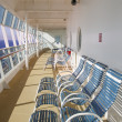 Stock Photo: Blue and White Chairs Enclosed Ships Deck