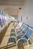 Blue and White Chairs Enclosed Ships Deck — Stock Photo