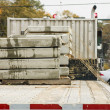 Precast Concrete Slabs on Flat Bed Truck - Stock Photo