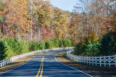 Road Curving Through Autumn Trees and White Fence — Stock Photo