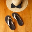 Beach Sandals and Straw Hat on Deck — Stock Photo