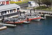 Barcos guardacostas atados a muelles — Foto de Stock